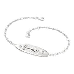 Gifts for Friends:Forever Friends Engraved Diamond Bracelet..