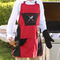 Birthday Gifts for Boyfriend Under $50:Personalized Four Piece BBQ Grill Apron Set