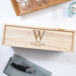 Birthday Gifts for Men Under $50:Lyndhurst Personalized Wood Wine Box