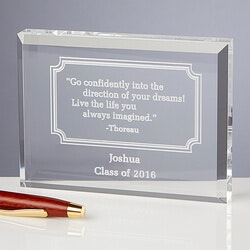 Graduation Gifts for Teenage Boys:Personalized Inspirational Quotes Keepsake..