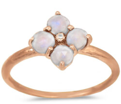 Rose Gold Plated Moonstone Flower Ring