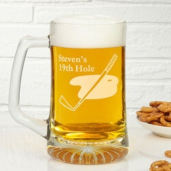 Personalized Christmas Gifts for Husband:Golf Club Personalized Glass Beer Mug