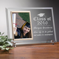 High School Graduation Gifts:Engraved Glass Photo Frame - Graduation..