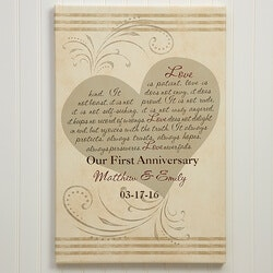 Anniversary Gifts:Love Is Patient Personalized Canvas