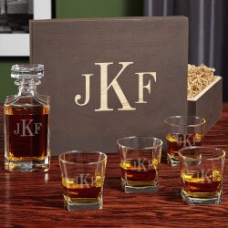 Wedding Gifts:Classic Monogram Custom Decanter And Rocks..