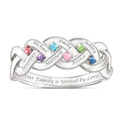 Valentines Day Gifts for Wife:Always Together Family Ring