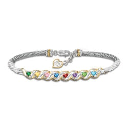 Gifts for Mom:Family Is Forever Birthstone Bracelet