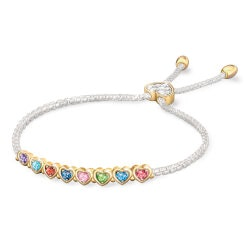 Gifts for Mom:Family Heart Personalized Birthstone Bracelet