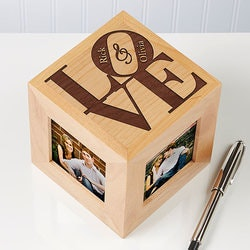 Personalized Wooden Photo Cubes - Our Love