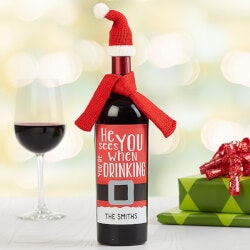 Personalized Gifts (Under $10):Personalized Holiday Santa Wine Bottle Labels