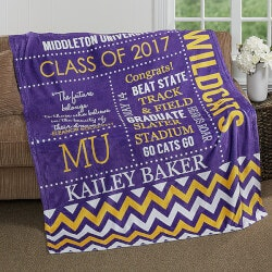 Personalized Gifts for Boys:School Memories Graduation Blanket