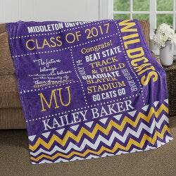 Personalized Gifts for Teenage Boys:School Memories Graduation Blanket