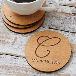 Personalized Gifts (Under $10):Wood Coasters - Custom Engraved Initial & Name