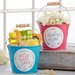 Personalized Gifts (Under $10):Get Well Soon Personalized Mini Metal Bucket..