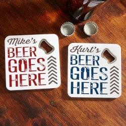 Personalized Gifts (Under $10):Personalized Beer Bottle Opener Coasters