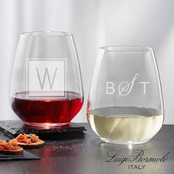 Personalized Gifts (Under $25):Personalized Stemless Wine Glasses - Monogram