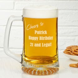 Personalized Glass Birthday Beer Mug -..
