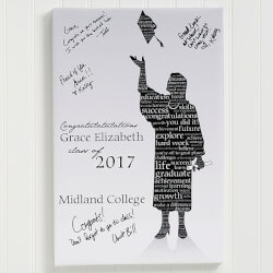 Personalized Gifts for Teenage Boys:Graduation Guestbook Custom Art Print - 24x36