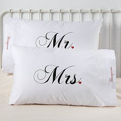 Personalized Pillowcase Set - Mr And Mrs..