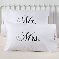 Wedding Gifts:Personalized Pillowcase Set - Mr And Mrs..