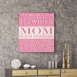 Christmas Gifts for Mom Under $50:Personalized Superhero Mom Canvas