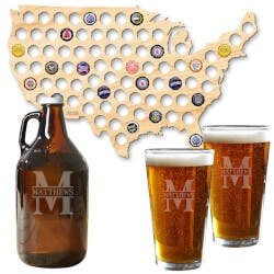 USA Beer Cap Map And Custom Beer Growler..