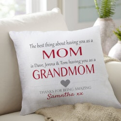 Christmas Gifts for Mom Under $50:Best Thing About Mom Pillow