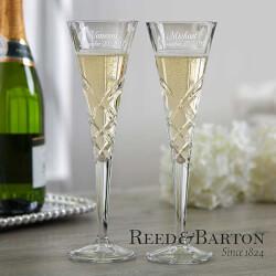 Engraved Crystal Champagne Flutes