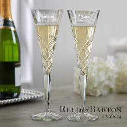 Engraved Crystal Champagne Flutes - Reed &..