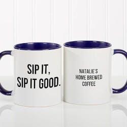 Personalized 11oz Blue Coffee Mug - Add Any..