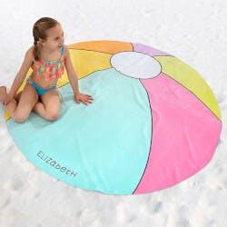 Personalized Round Beach Towel - Beach Ball