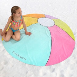 Birthday Gifts for 9 Year Old:Personalized Round Beach Towel - Beach Ball