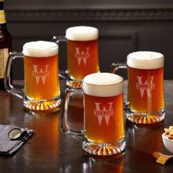 Oakmont Engraved Glass Beer Mugs 15 Oz, Set..