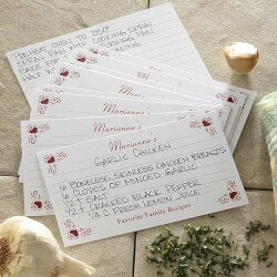 Personalized Gifts:Family Favorites Printed 4x6 Recipe Cards