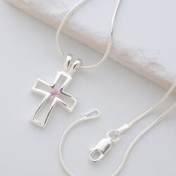 Silver Cross Necklace With Birthstones