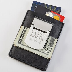 Gifts for Dad:Personalized Money Clip Wallet