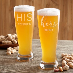 Birthday Gifts for Brother:His & Hers Personalized Beer Glasses