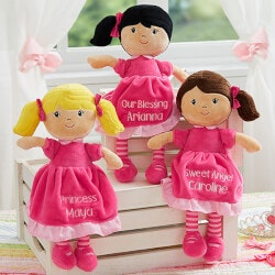 Personalized Gifts for Boys:Pretty Pink Embroidered Doll - Light Skin &..