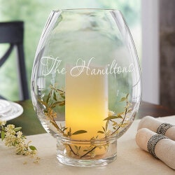 Wedding Gifts:Hurricane Candle Holder - Engraved Name