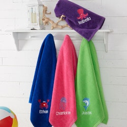 Embroidered Beach Towel For Kids 35x60 - Sea..