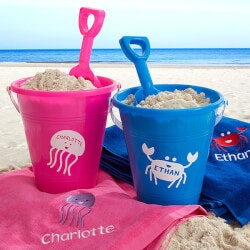 Personalized Gifts for 3 Year Old:Sea Creatures Personalized Pink Beach Pail &..