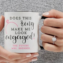 Personalized Gifts (Under $10):Personalized Engagement Coffee Mug - 11 Oz..