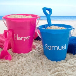 Personalized Gifts for 3 Year Old:Personalized Pink Sand Pail & Shovel