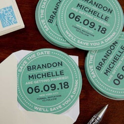 Personalized Gifts:Personalized Wedding Paper Coasters - Save..