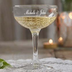 Personalized Gifts (Under $10):Personalized Wedding Champagne Coupe Glasses