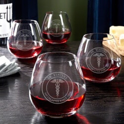 Gifts for Doctors:Medical Arts Personalized Wine Glasses Set..