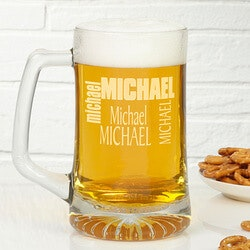 Personalized Gifts for Dad:Custom Name Personalized Glass Beer Mug