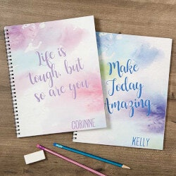 Personalized Gifts (Under $25):Personalized Notebooks - Watercolor Design