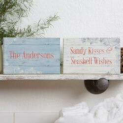 Beach Home Decor - Personalized Shelf Blocks