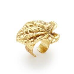 Gold Dipped Botanical Adjustable Ring
